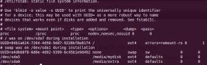 Screenshot of /etc/fstab
